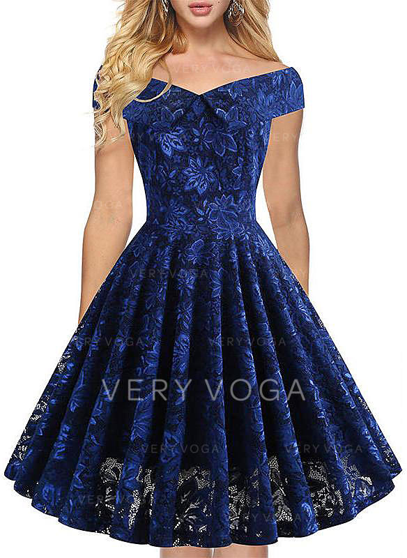 Lace/Solid Cap Sleeve A-line Knee Length Party/Elegant Dresses
