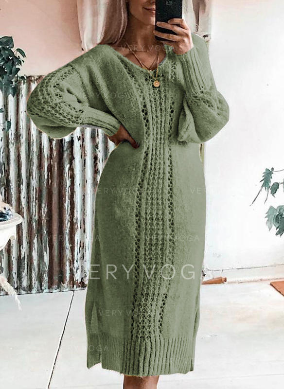 Solid Cable-knit Chunky knit V-Neck Casual Long Sweater Dress