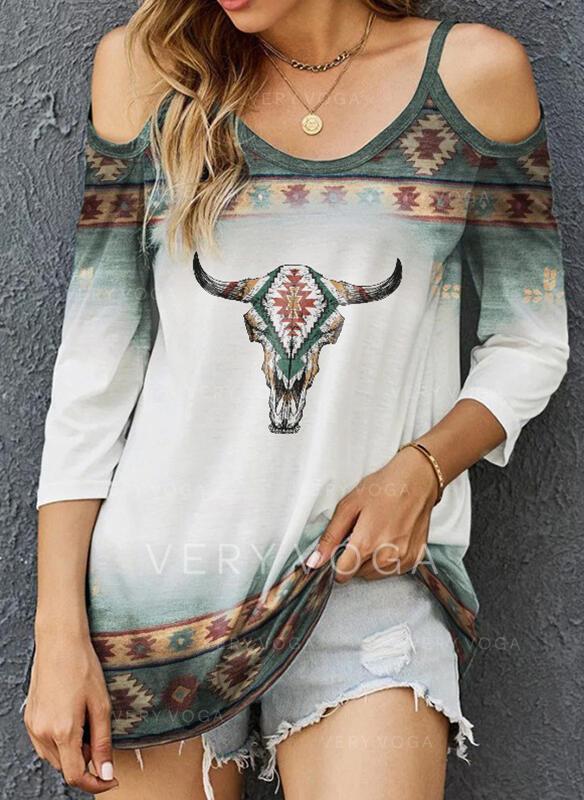 Zwierzę Zimne ramię Długie rękawy T-shirty
