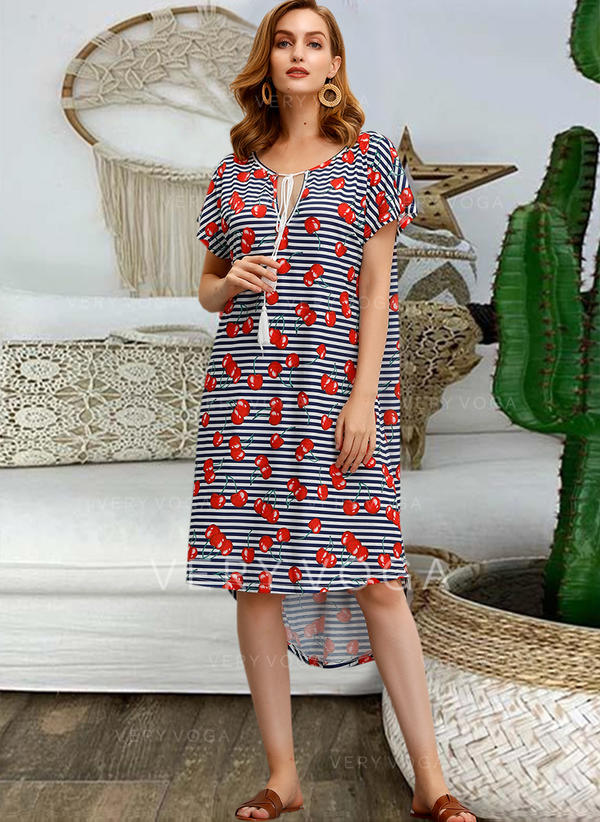 Print/Striped Short Sleeves Shift Asymmetrical Casual Dresses