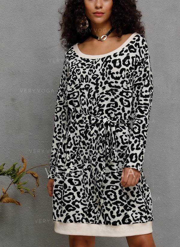 Animal Print Long Sleeves Shift Knee Length Casual Dresses