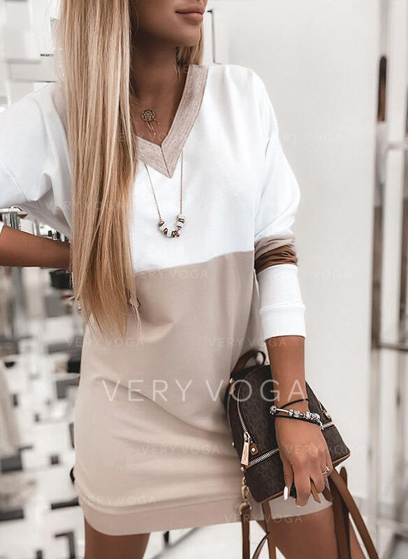 Color Block Long Sleeves Shift Above Knee Casual Sweatshirt Dresses