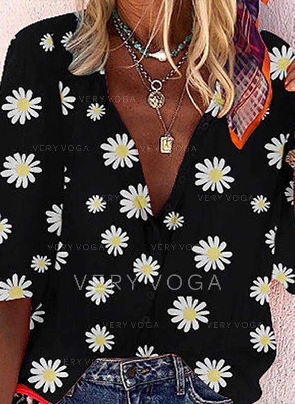 Estampado Floral Decote em V 1/2 Manga Casual Blusas