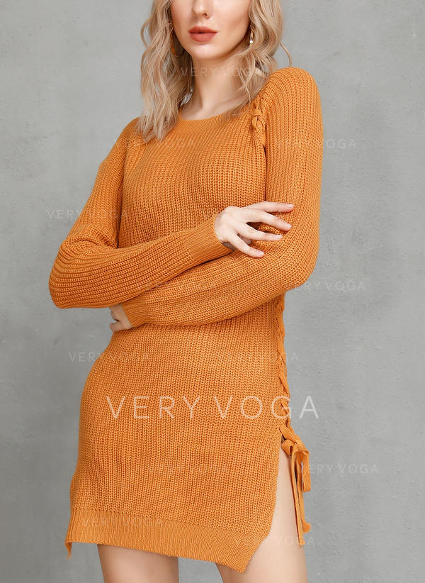 Solid Ribbed Round Neck Sweaters