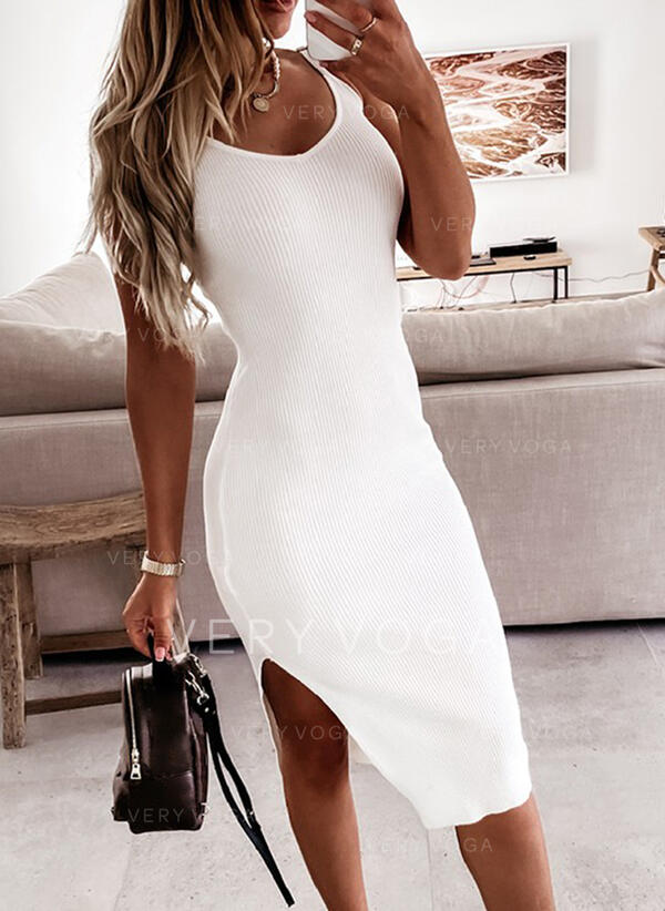 Sólido/Escotado por detrás Sin mangas Cubierta Hasta la Rodilla Sexy/Vacaciones Vestidos