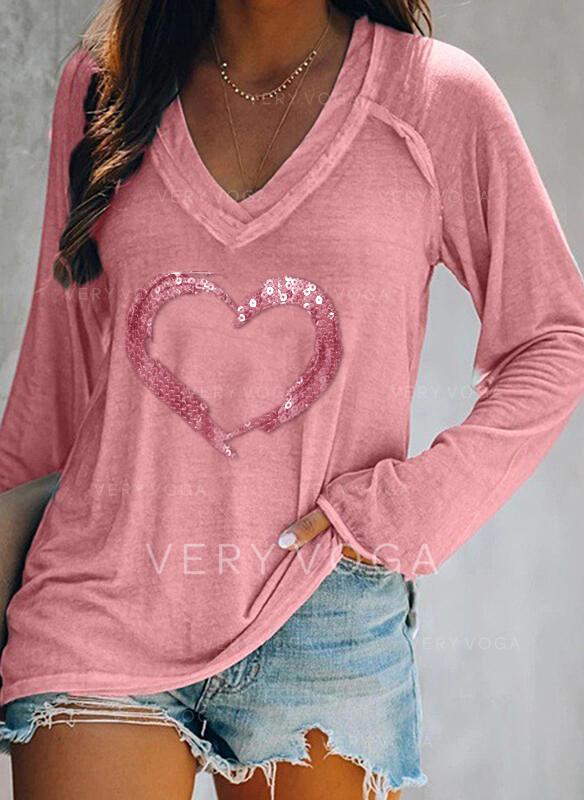 Pailletten Herz V-Ausschnitt Lange Ärmel Freizeit T-shirts