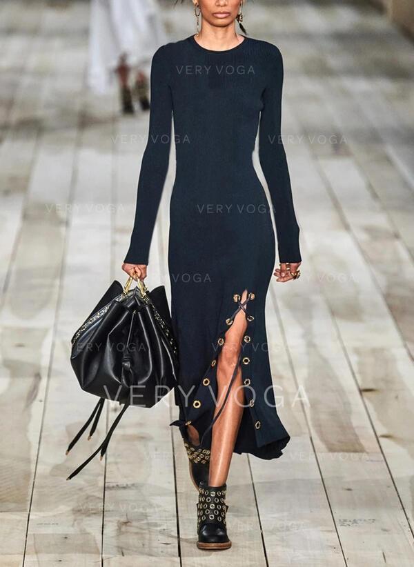 Einfarbig Lange Ärmel Etui Freizeit Midi Kleider