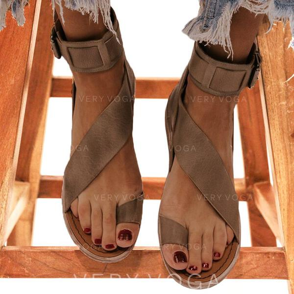 Women's Leatherette Flat Heel Sandals Flats Peep Toe Toe Ring With Buckle shoes