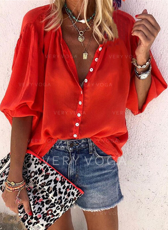 Solid V-Neck 1/2 Sleeves Button Up Casual Shirt Blouses (1003273563)