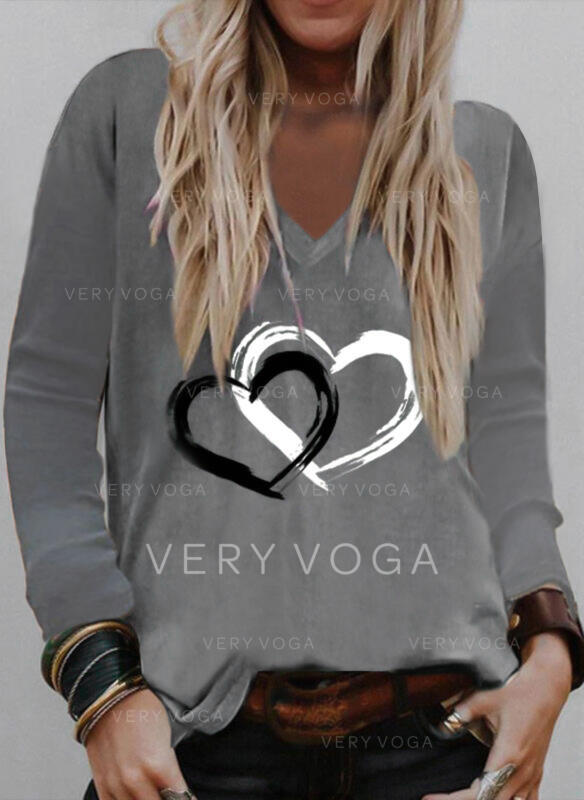 Herz Druck V-Ausschnitt Lange Ärmel T-Shirts