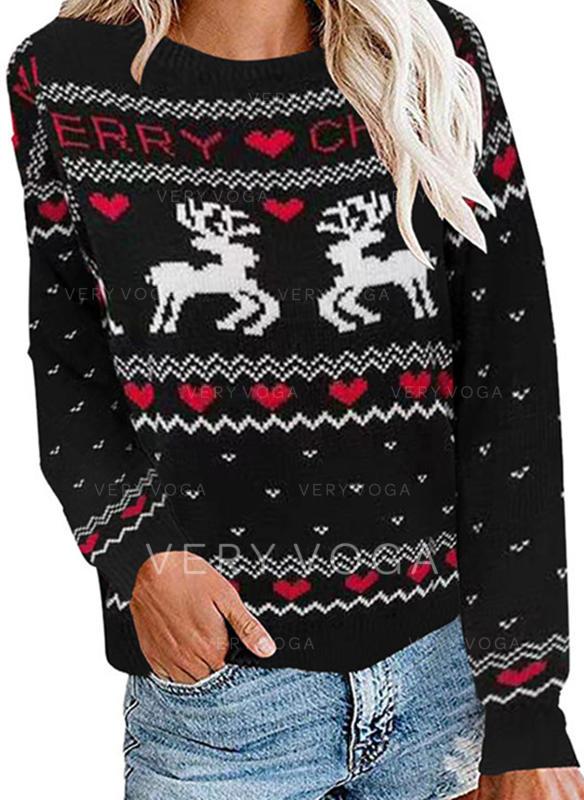 Padrão Animal Coração Gola Redonda Casual Natal Camisola de Natal Feia