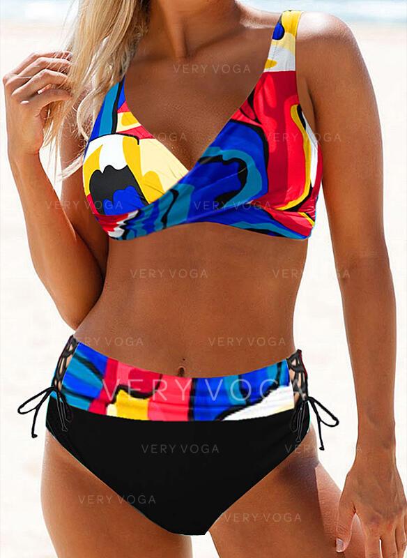 Print Strap Sexy Plus Size Boho Bikinis Swimsuits (202298673)