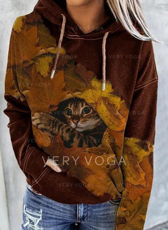 Animal Print Pockets Long Sleeves Hoodie