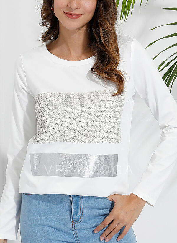 Print Sequins Round Neck Long Sleeves