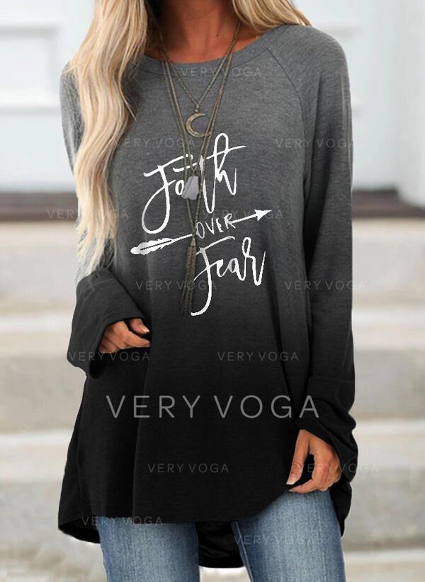 Print Figur Gradient rund hals Lange ærmer Sweatshirts