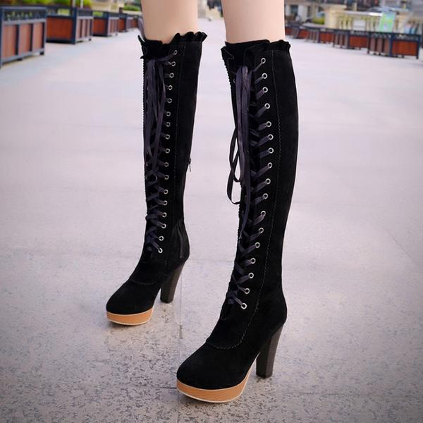 Women's Suede Chunky Heel Knee High Boots With Ribbon Tie Ruched shoes