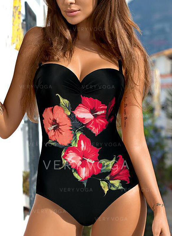 Floral Strap Sexy Elegant One-piece Swimsuits