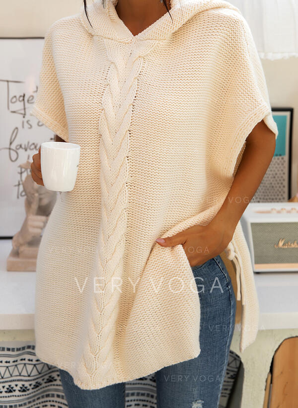 Solid Cable-knit Chunky knit Hooded Oversized Casual Sweater Dress