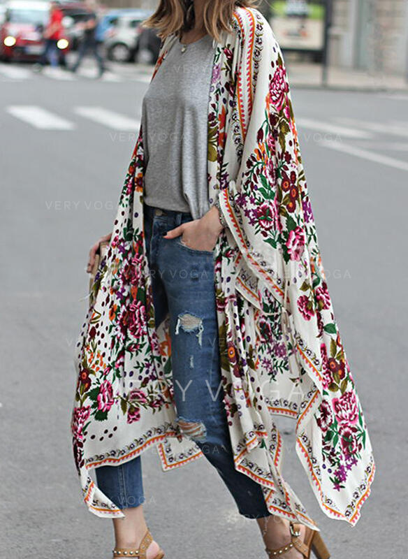 Long Sleeves Print Floral Trench Coats