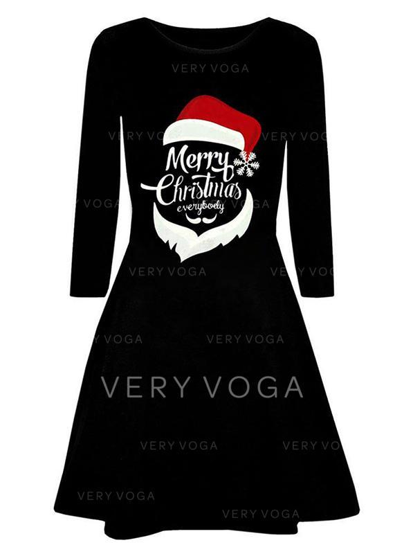 Estampado Manga Comprida Evasê Comprimento do joelho Natal/Festa Vestidos