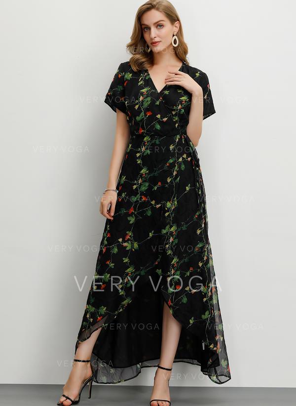 Imprimeu/Floral Mâneci Scurte Tip A-line Maxi Casual/Petrecere/Elegant Elbiseler