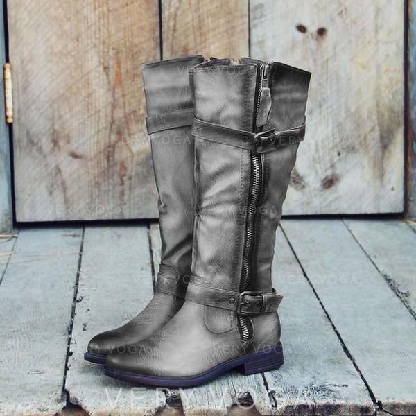 Vrouwen Kunstleer Low Heel Laarzen met Rits schoenen