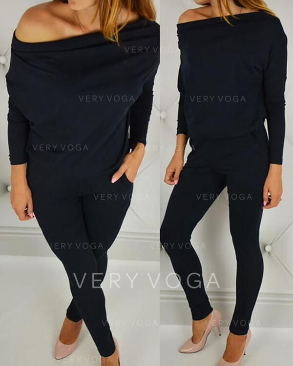 Fuori dalla spalla Maniche lunghe Tinta unita Alla moda Set di top e pantaloni