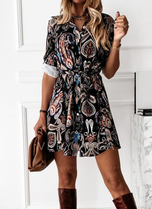 Nadruk Długie rękawy Sukienka Trapezowa Nad kolana Nieformalny Koszula/Łyżwiaż Sukienki
