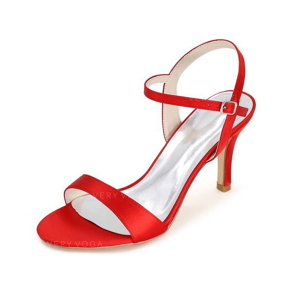 Frauen Satin Peep-Toe Sandalen