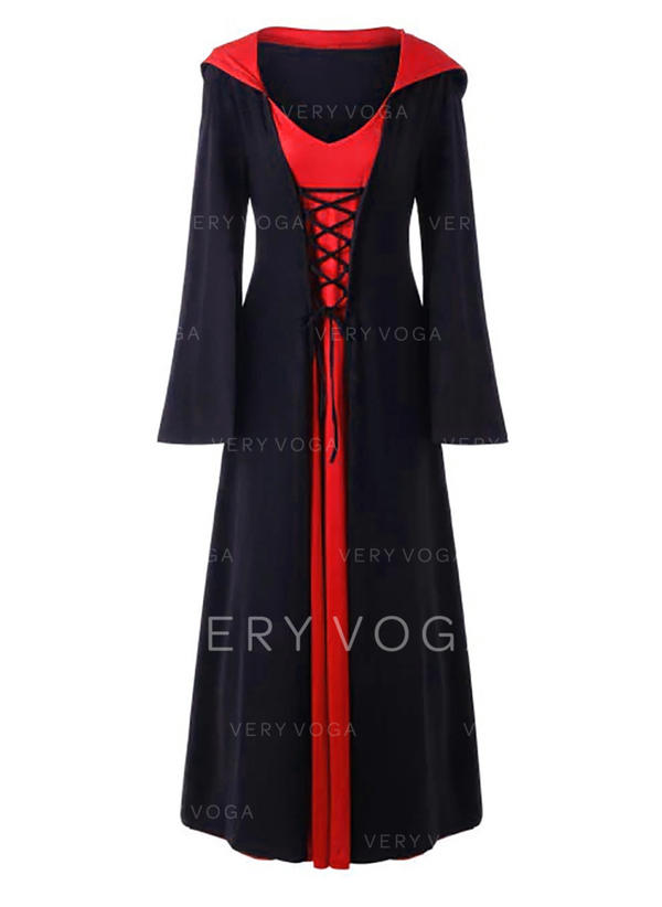 Color Block Long Sleeves A-line Maxi Party Dresses