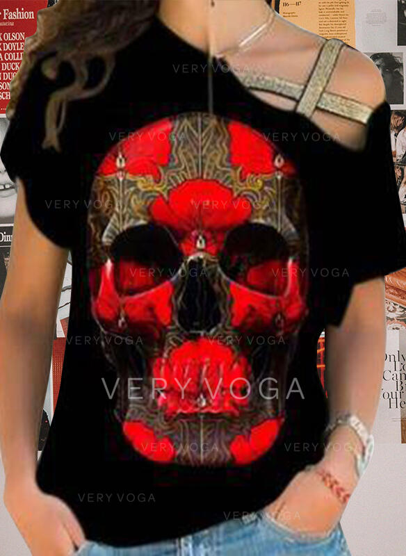Print Skull head One Shoulder Short Sleeves T-shirts