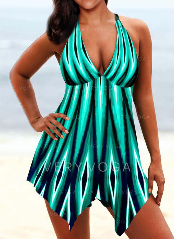 Colore della giuntura A bikini Scollatura a V Alla moda Boho Costumi da Bagno Donna Costumi Da Bagno
