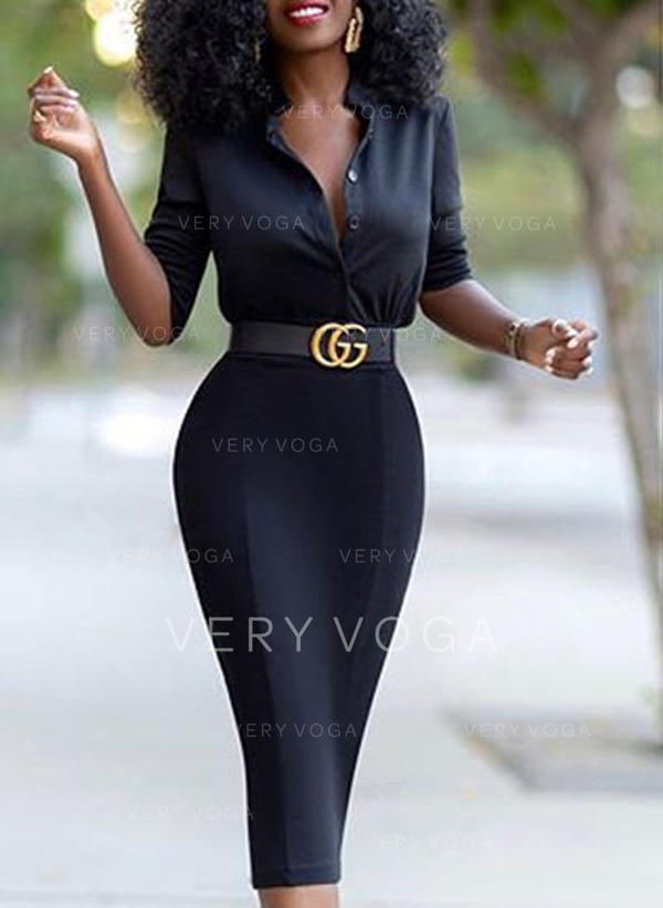 Solid 1/2 Sleeves Bodycon Knee Length Little Black/Casual Dresses