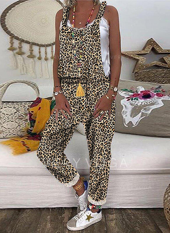 Print Animal Strap Sleeveless Casual Vacation Jumpsuit