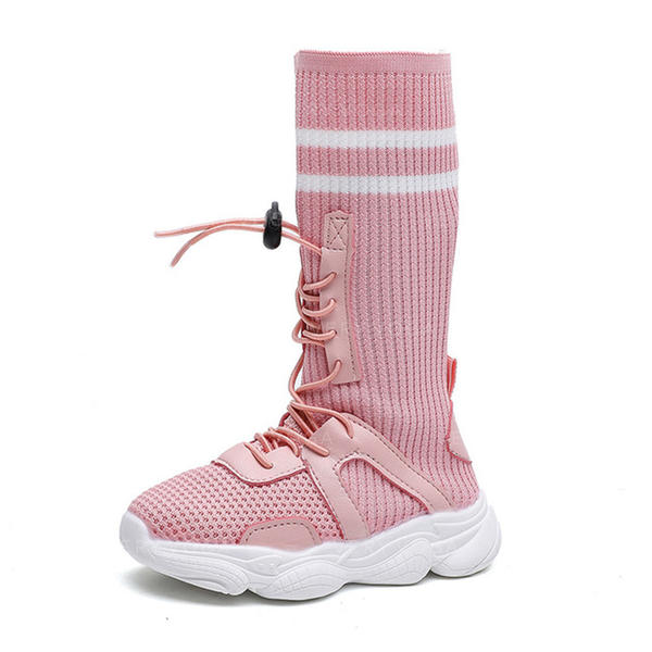 22423a45fbc Girl s Cloth Flat Heel Round Toe Closed Toe Mid-Calf Boots Flats Boots With  Lace