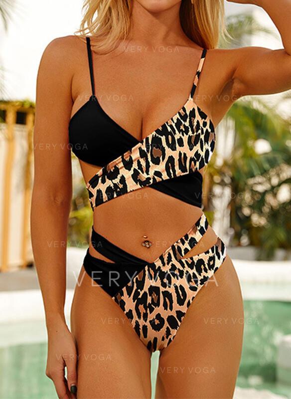 Trozos de color Correa Cuello en V Clásico Casual Bikinis Trajes de baño