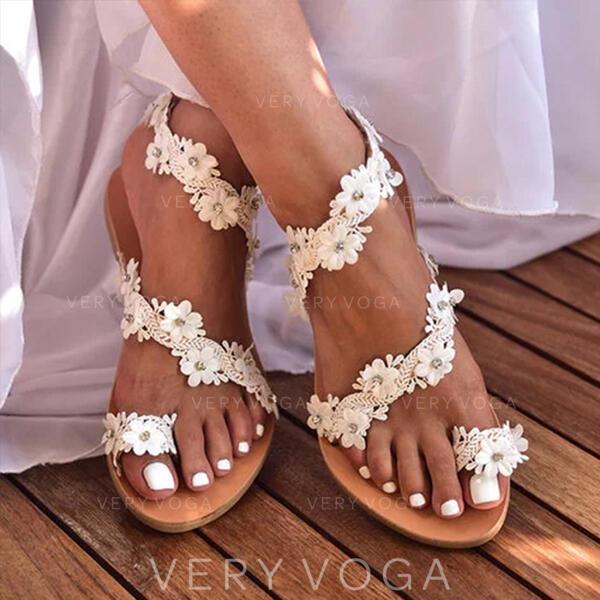 Donna Similpelle Senza tacco Sandalo Ciabatte con Fiore scarpe