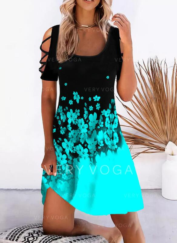 Imprimeu/Floral/Renkli klişe Mâneci Scurte Soğuk omuz kılıfı Shift Elbiseleri Până la Genunchi gündelik/Tatil Tunică Elbiseler