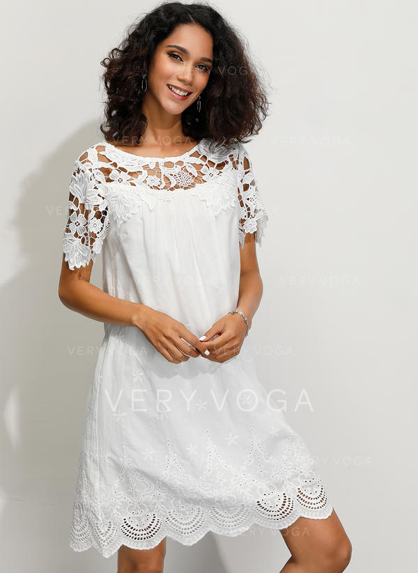 Lace/Solid 1/2 Sleeves Shift Above Knee Casual/Elegant Dresses