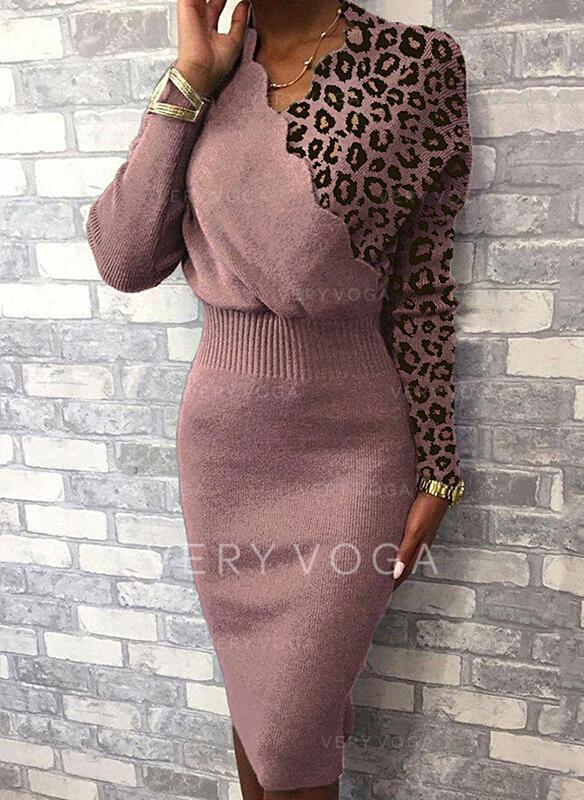 Bloco de Cor Leopardo Decote em V Casual Longo Apertado Camisola-vestido