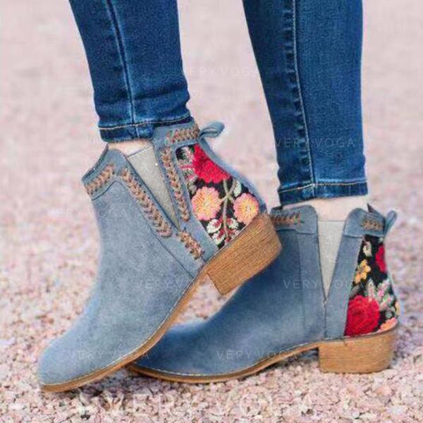 Kvinner PU Stor Hæl Støvler med Blomst sko