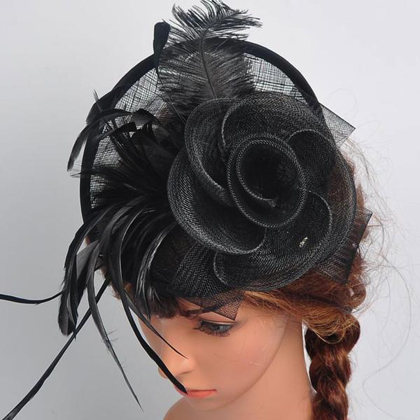 Ladies Beautiful Elegant Cotton With Feather Silk Flower