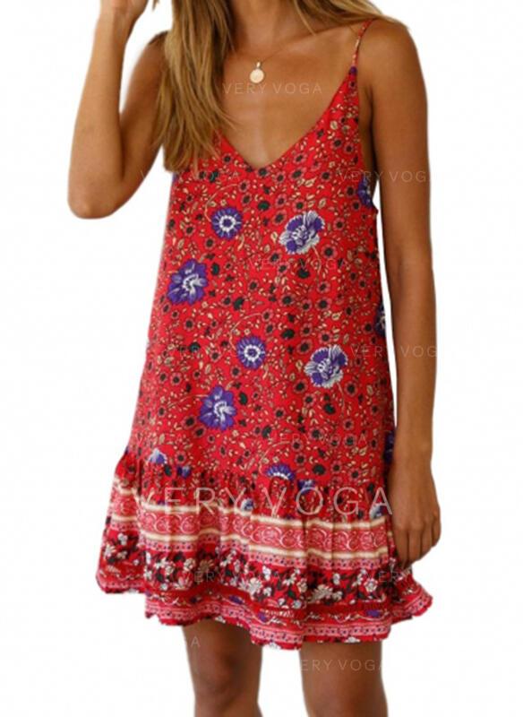 Print/Floral Sleeveless Shift Above Knee Casual/Boho Dresses