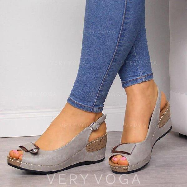 PU Wedge Heel Sandals Wedges Peep Toe With Buckle shoes