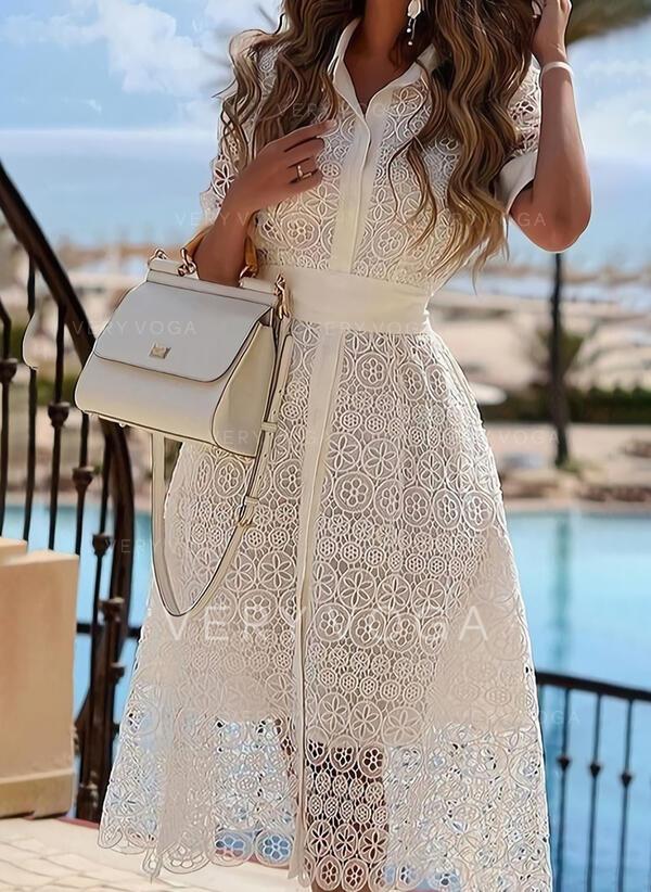 Blonde/Solid Korte ærmer Med A-linje Skater Elegant Midi Kjoler
