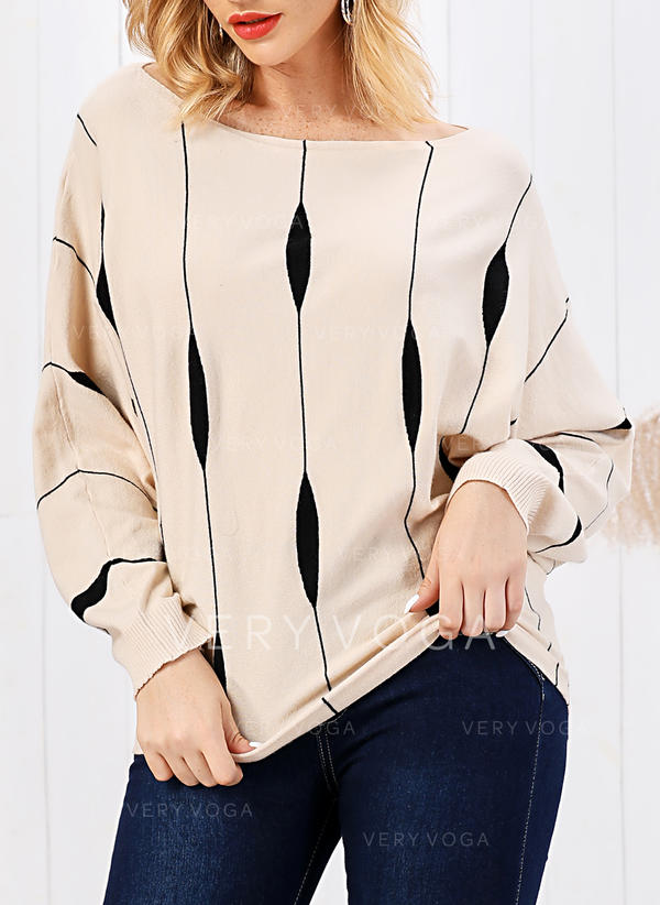 Striped Cable-knit Round Neck Sweaters