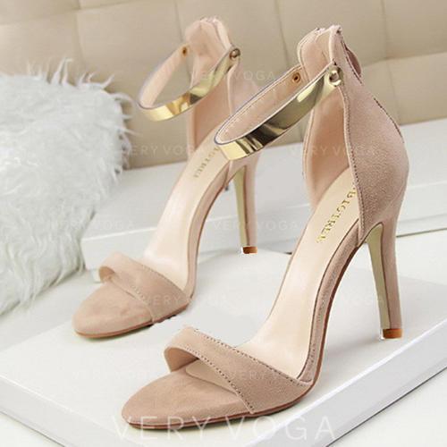 Women's Suede Stiletto Heel Sandals Pumps Peep Toe With Sequin Zipper shoes