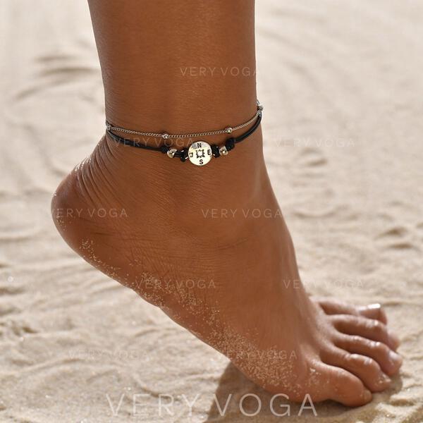 просто сплав Кожаная веревка с Тег Монета Пляжные украшения ножные (Набор из 2)