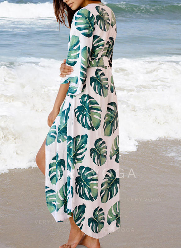 Leaves V-Neck Sexy Fashionable Beautiful Cover-ups Swimsuits