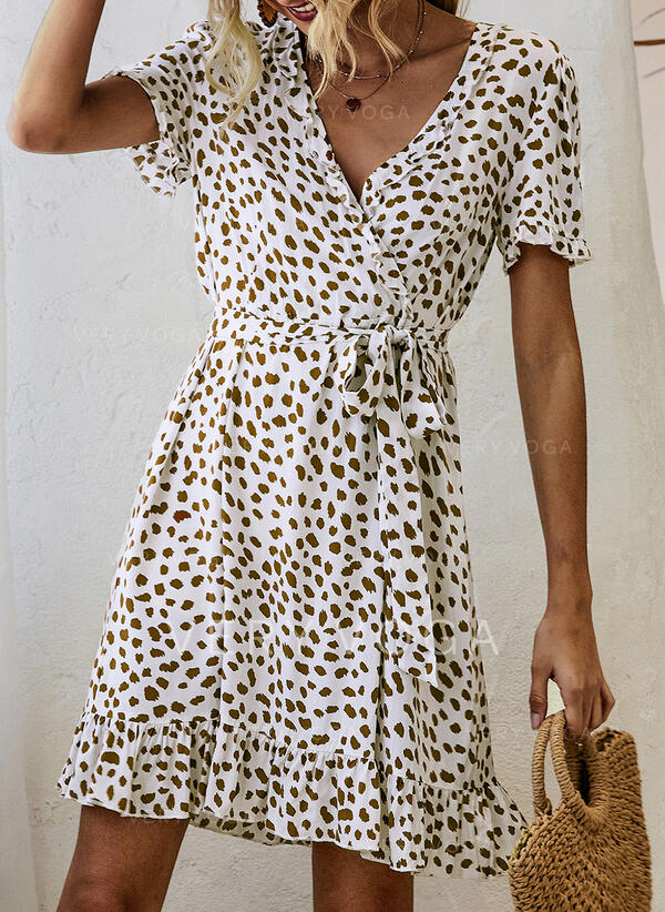 Print Short Sleeves A-line Knee Length Casual/Elegant Dresses (199298458)